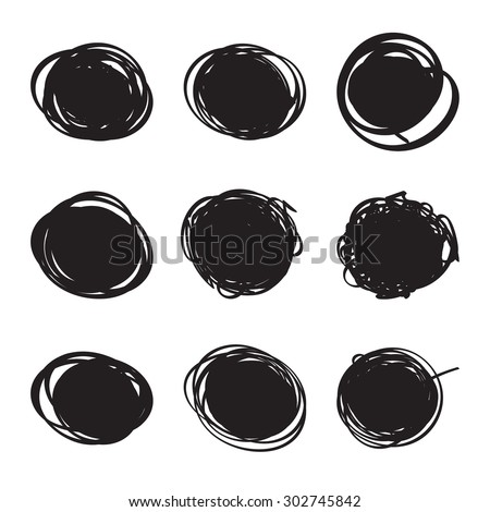 Set hand drawn ovals, felt-tip pen circles. Rough blob frame elements. banner for text ads - stock vector
