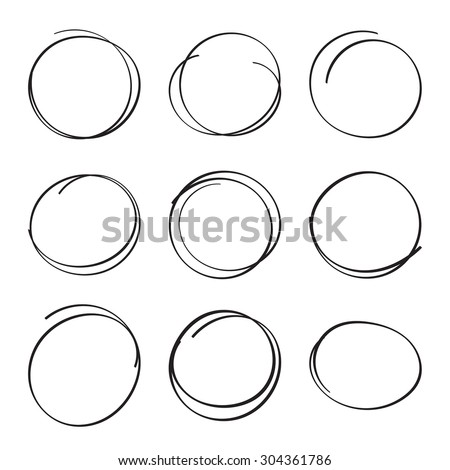Set hand drawn ovals, felt-tip pen circles. Underlining, note, highlight important information. Rough frame elements. - stock vector
