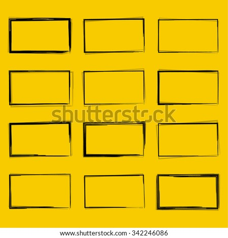 Set hand drawn rectangle, felt-tip pen objects. Text box and frames. - stock vector