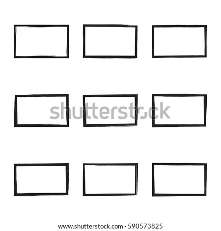 set hand drawn rectangle photo foto stock vector royalty free