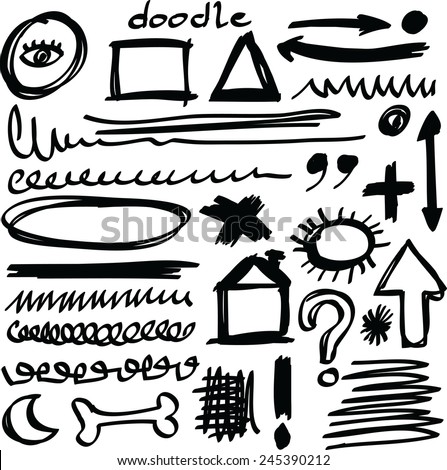 Set hand drawn shapes, circle, square, triangle, line  - stock vector