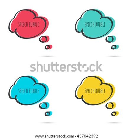 Set hand drawn speech bubble. Vector frame. Text box. Multicolor, red, blue green yellow - stock vector