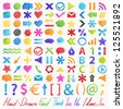 Set: hand-drawn symbols (icons). Isolated colorful design elements in different shapes. Useful for web ad and websites. Vector illustration on white background - stock vector