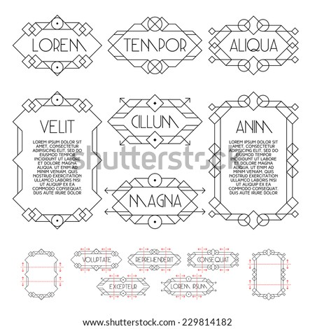 set hipster monochrome geometric vintage frame , border , label for your logotype or poster - stock vector