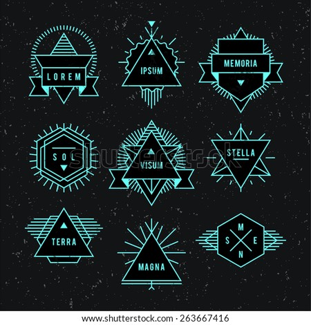 Set hipster neon logo on a black background. - stock vector