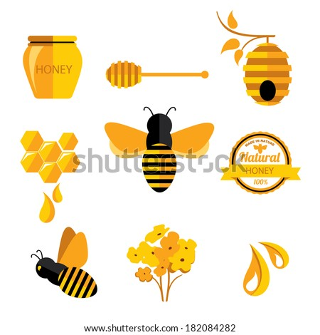 Set Honey badges and labels. Abstract bee design.