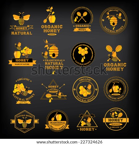 Set Honey badges and labels. Abstract bee design. - stock vector