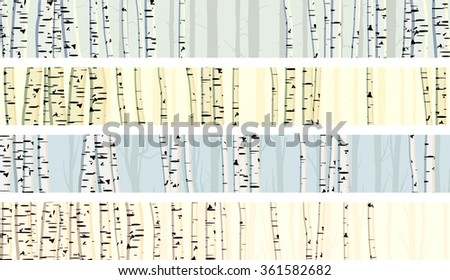 Set horizontal abstract banners of birch trunks forest. - stock vector