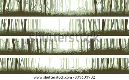 Set horizontal banners misty forest with clearing in woods and trunks of trees (green tone). - stock vector