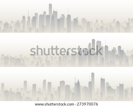 Set horizontal banners of big city with skyscrapers in haze.