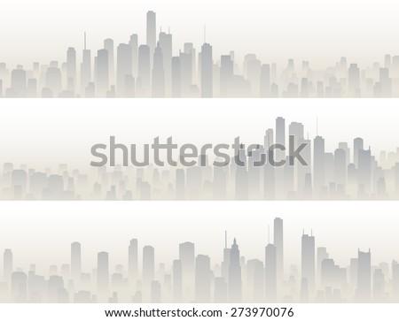 Set horizontal banners of big city with skyscrapers in haze. - stock vector