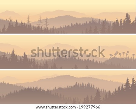 Set horizontal banners of wild coniferous forest in morning fog. - stock vector