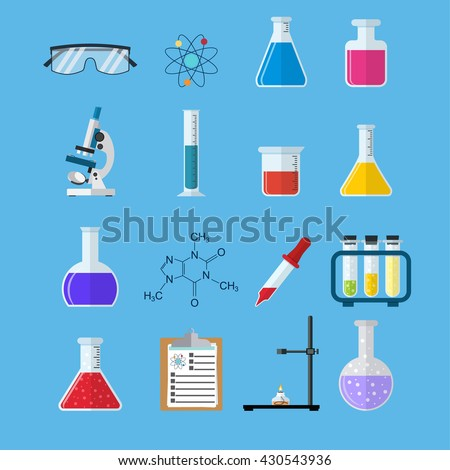 Set icon chemicals, Science, education, chemistry, experiment, laboratory concept. vector illustration in flat design