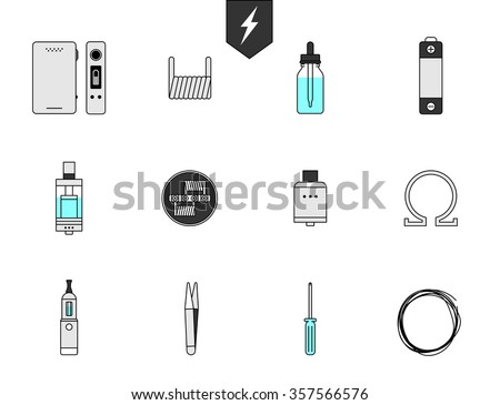 Set icon for Vapor bar and vape shop, electronic cigarette, no smoke. Line modern Flat design icon vector illustration set for your web design