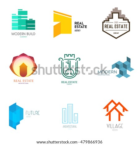 Vector Flat Simple Architecture Company Logo Stock Vector