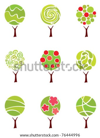 Set icons -- abstract trees - stock vector
