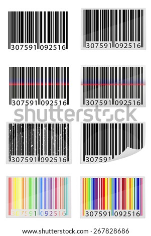 set icons barcode vector illustration isolated on white background - stock vector