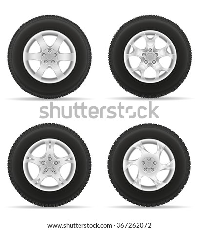 set icons car wheel tire from the disk vector illustration isolated on white background - stock vector