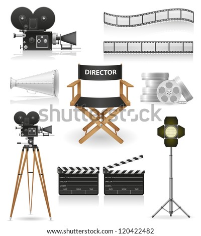 set icons cinematography cinema and movie vector illustration isolated on white background - stock vector