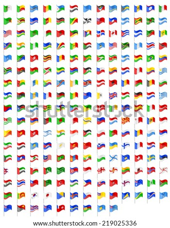 set icons flags of the world countries vector illustration isolated on white background - stock vector