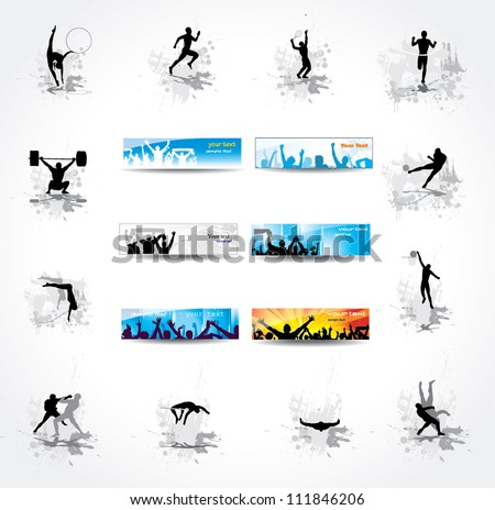 Set. Icons for sports championships and banners from happy fans . - stock vector