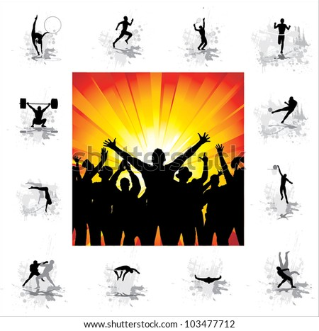 Set. Icons for sports championships and poster from happy fans . - stock vector