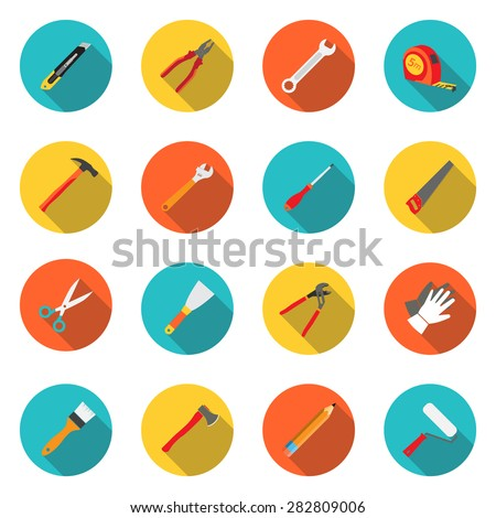 Set icons hand tools flat style: screwdriver, wrench, pliers, trowel,spanner,  stationery knife, putty knife, scissors, gloves, paint roller, paint brush, saw, axe, tape measure, hammer - stock vector