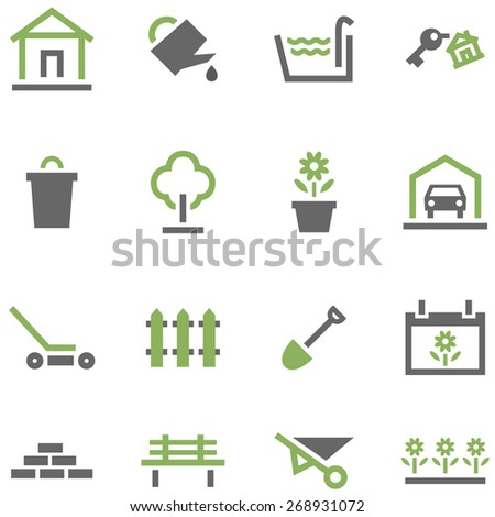 Set icons house and garden. - stock vector