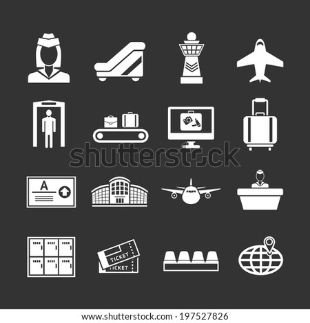 Set icons of airport isolated on black. Vector illustration