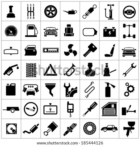 Set icons of auto, car parts, repair and service isolated on white. Vector illustration - stock vector