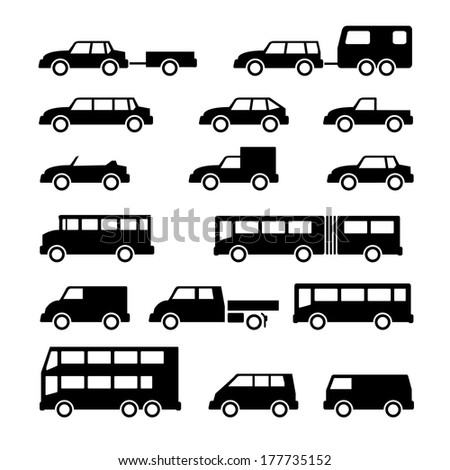 Set icons of car and bus isolated on white. Vector illustration - stock vector