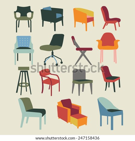 Set icons of chairs interior furniture icon-illustration - stock vector