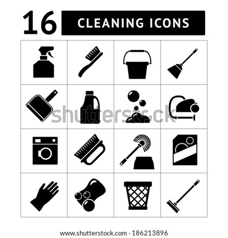 Set icons of cleaning isolated on white. Vector illustration - stock vector