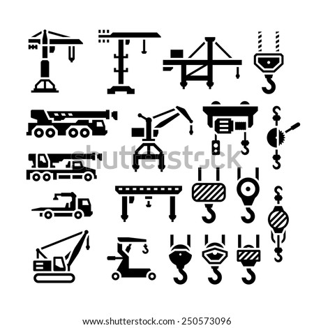 Set icons of crane, lifts, winches and hooks isolated on white. Vector illustration
