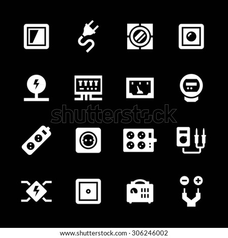 Set icons of electricity isolated on black. Vector illustration - stock vector