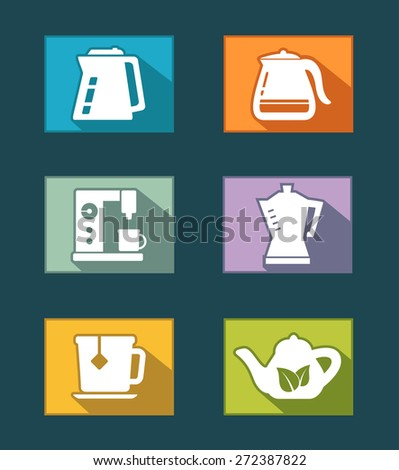 set icons of flat design for tea and coffee industry - stock vector
