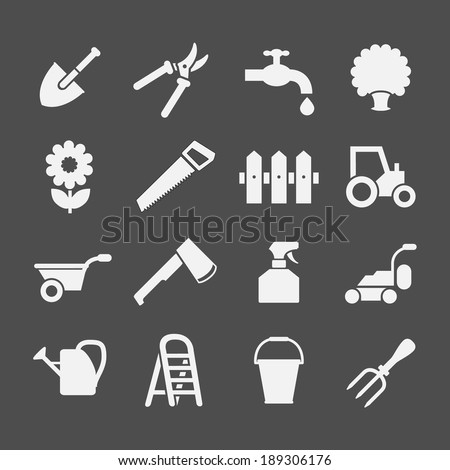 Set icons of garden and farm isolated on grey. Vector illustration - stock vector