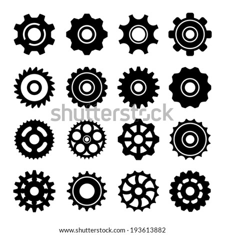 Set icons of gears isolated on white. Vector illustration