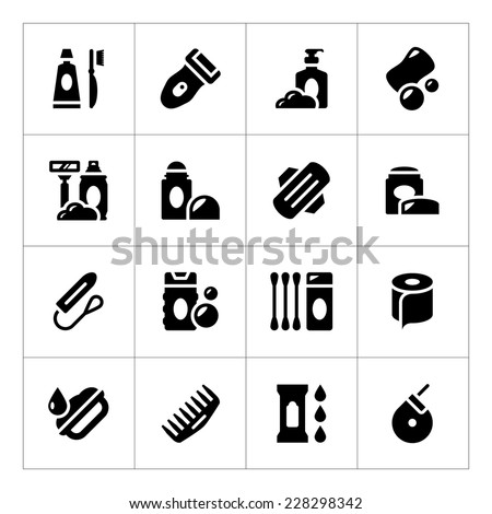 Set icons of hygiene isolated on white. Vector illustration - stock vector