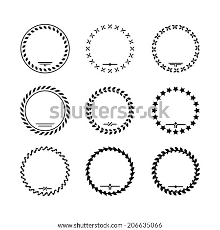 Set icons of laurel wreath and modern frames isolated on white. Vector illustration - stock vector