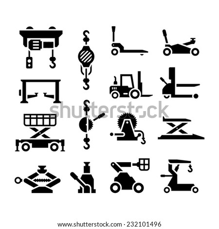 Set icons of lifting equipment isolated on white. Vector illustration - stock vector