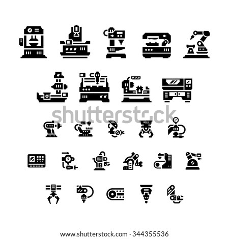Set icons of machine tool, robotic industry isolated on white. Vector illustration - stock vector