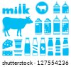 Set icons of milk, dairy products and cow. vector - stock photo