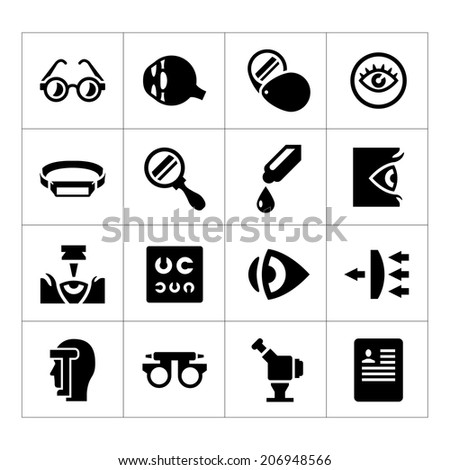 Set icons of ophthalmology and optometry isolated on white. Vector illustration - stock vector