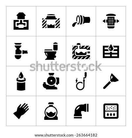 Set icons of sewerage isolated on white. Vector illustration - stock vector