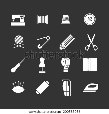 Set icons of sewing isolated on black. Vector illustration - stock vector