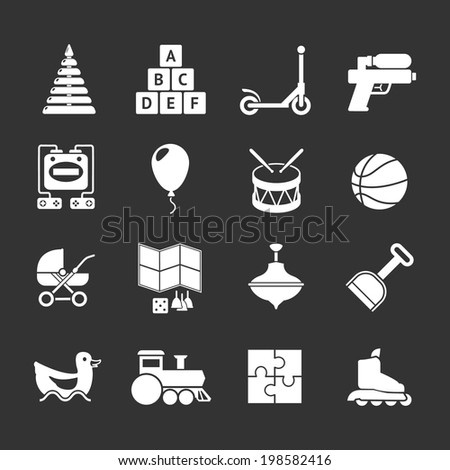 Set icons of toys isolated on black. Vector illustration - stock vector