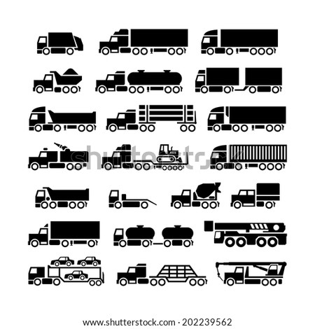 Set icons of trucks trailers