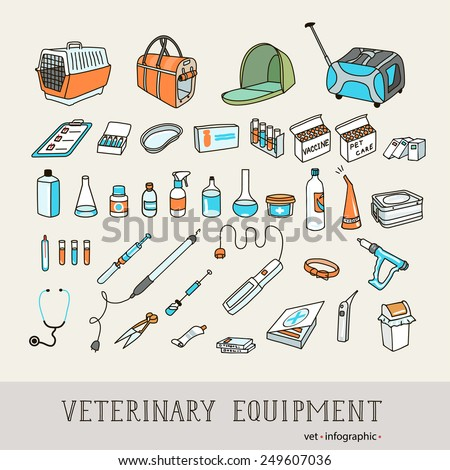 Set icons of veterinary equipment and and items for pets care.  Infographics elements, helthcare, vet. Vector illustration. - stock vector
