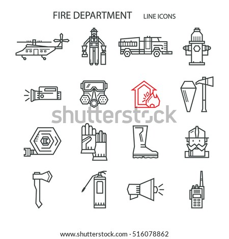 Set icons outline fire safety flame stock vector hd royalty free flame truck fire extinguisher firefighter suitable colourmoves